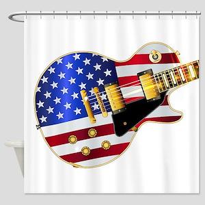 Old Glory Flag Guitar Shower Curtain