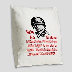 I Am An American Warrior Burlap Throw Pillow