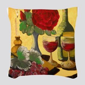 Wine & Roses Woven Throw Pillow