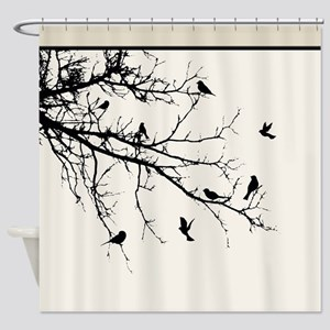 Modern Bare Tree Branch With Flock Shower Curtain