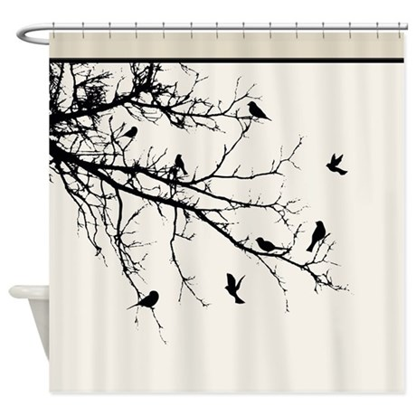 Modern Bare Tree Branch With Flock Shower Curtain By DigitalRealityArt