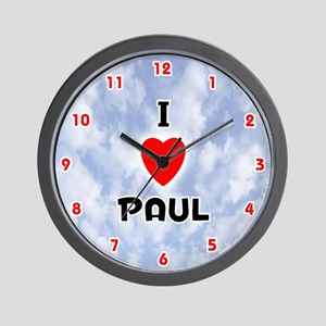 I Love Paul (Red/Blk) Valentine Wall Clock