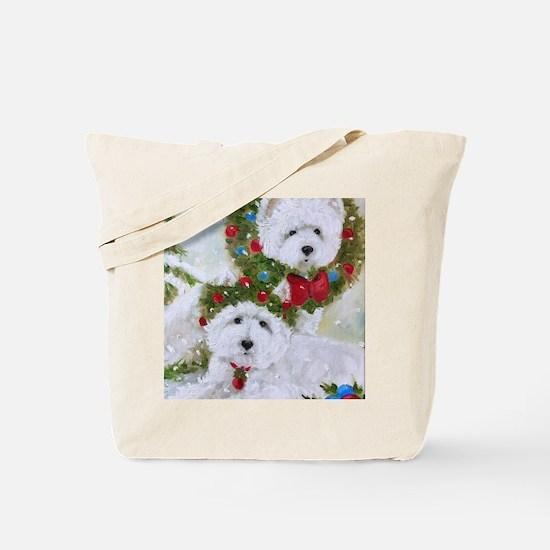 Funny Westie christmas Tote Bag