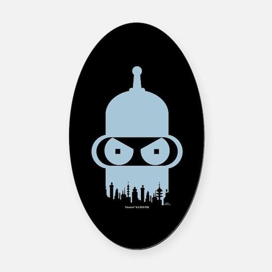 Futurama Bender City Oval Car Magnet