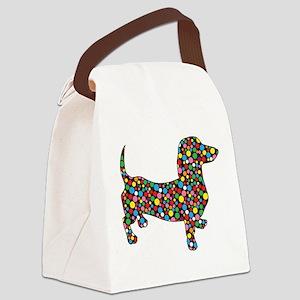 Polka Dot Dachshunds Canvas Lunch Bag