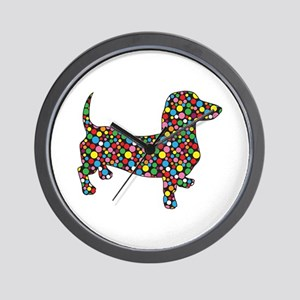 Polka Dot Dachshunds Wall Clock