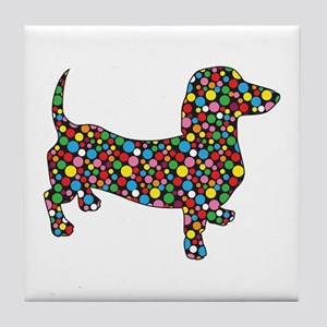 Polka Dot Dachshunds Tile Coaster