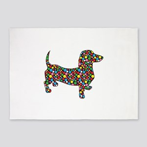 Polka Dot Dachshunds 5'x7'Area Rug