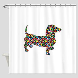 Polka Dot Dachshunds Shower Curtain