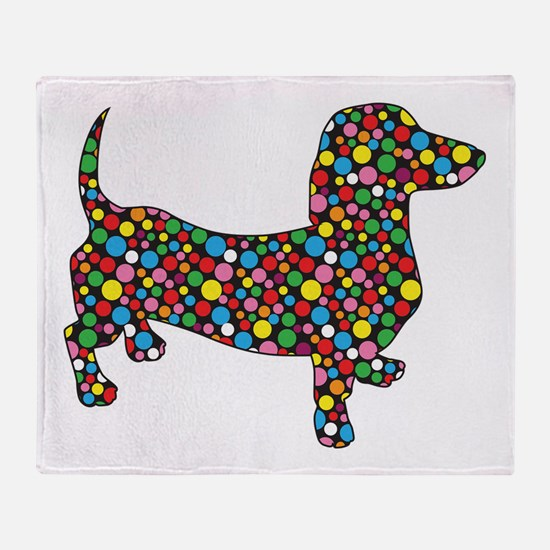 Polka Dot Dachshunds Throw Blanket
