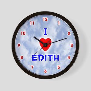 I Love Edith (Red/Bl) Valentine Wall Clock