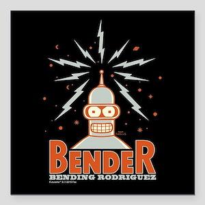 "Futurama Bender Rodrigue Square Car Magnet 3"" x 3"""