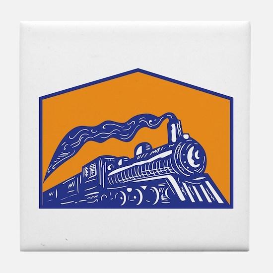Steam Locomotive Train Coming Crest Retro Tile Coa