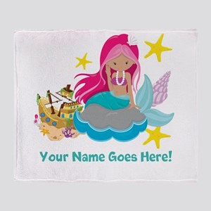 Pink Mermaid Throw Blanket