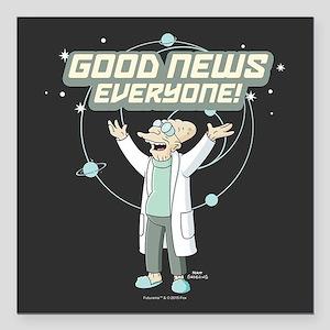 "Futurama Good News Square Car Magnet 3"" x 3"""