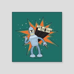 "Futurama Bender Shiny Square Sticker 3"" x 3"""
