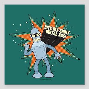 """Futurama Bender Shiny Square Car Magnet 3"""" x 3"""""""