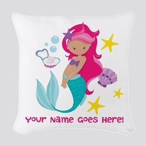 Pink Mermaid Woven Throw Pillow