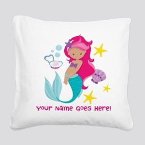 Pink Mermaid Square Canvas Pillow