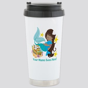Brunette Mermaid Dolphin Travel Mug