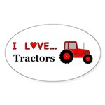 I Love Red Tractors Sticker (Oval 50 pk)