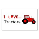 I Love Red Tractors Sticker (Rectangle 50 pk)