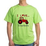 I Love Red Tractors Green T-Shirt