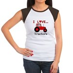 I Love Red Tractors Junior's Cap Sleeve T-Shirt