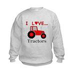 I Love Red Tractors Kids Sweatshirt