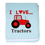 I Love Red Tractors baby blanket