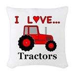 I Love Red Tractors Woven Throw Pillow