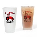 I Love Red Tractors Drinking Glass