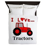 I Love Red Tractors Queen Duvet