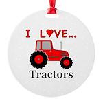 I Love Red Tractors Round Ornament