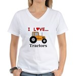 I Love Tractors Women's V-Neck T-Shirt