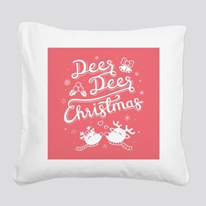 Deer Reindeer Christmas Red Square Canvas Pillow