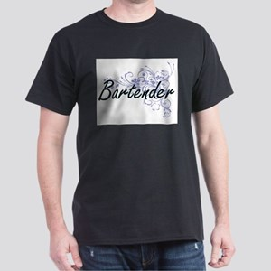 Bartender Artistic Job Design with Flowers T-Shirt