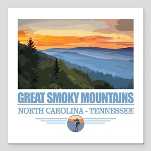 """Great Smoky Mountains Square Car Magnet 3"""" x 3"""""""