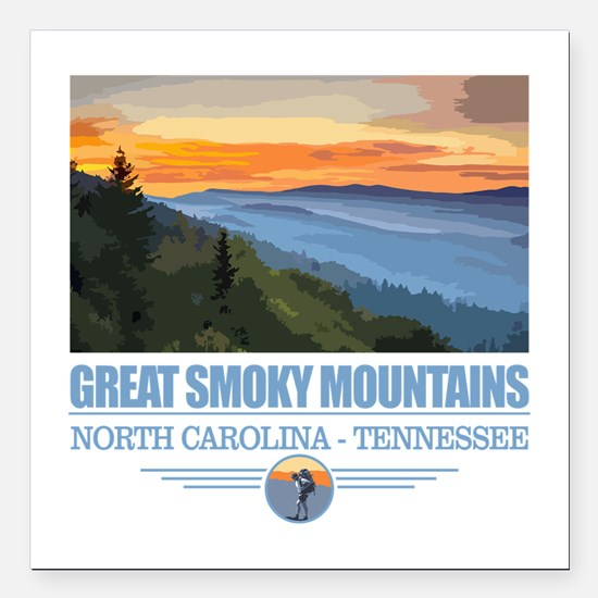 "Great Smoky Mountains Square Car Magnet 3"" x 3"""