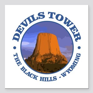"Devils Tower (rd) Square Car Magnet 3"" x 3"""