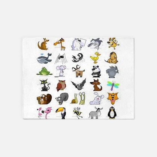 Kid Art Animals 5'x7'Area Rug