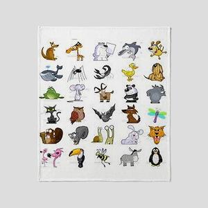 Kid Art Animals Throw Blanket