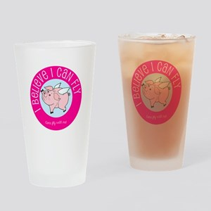 Believe Flying Pig Drinking Glass
