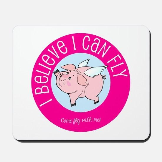 Believe Flying Pig Mousepad