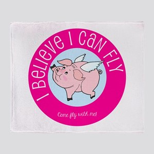 Believe Flying Pig Throw Blanket