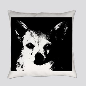Black and White Chihuahua Everyday Pillow