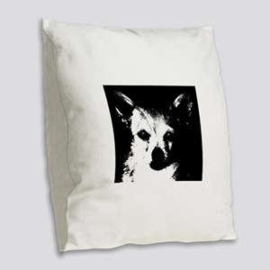 Black and White Chihuahua Burlap Throw Pillow