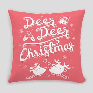Deer Reindeer Christmas Red Everyday Pillow