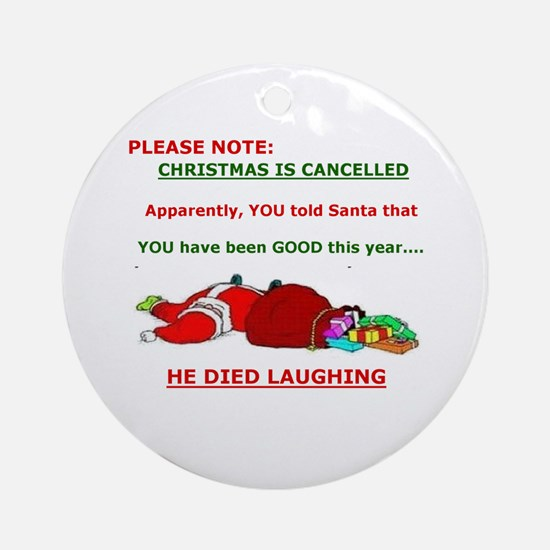 Cute Naughty nice Round Ornament
