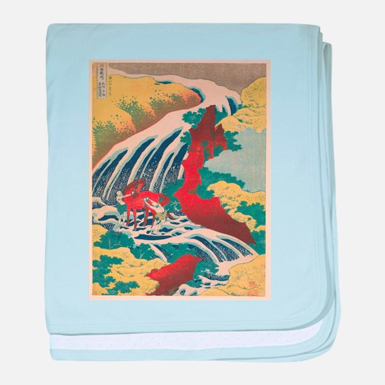 Vintage poster - Yoshitsune Falls baby blanket